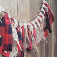 Make own fabric garland with all colors plaid! The Lumberjack fabric garland. Lumberjack party by EclecticSoirees First Birthday Parties, First Birthdays, Baby Birthday, Birthday Ideas, Fete Audrey, Burlap Party, Lumberjack Birthday Party, Baby Showers, Fabric Garland