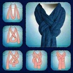 Great way to tie a scarf! I'm using this the next time I knit a nice scarf. If I'm gifting the scarf, I'll add sketches of this (and some other scarf knots) to the card. Look Fashion, Diy Fashion, Ideias Fashion, Fashion Beauty, Autumn Fashion, Womens Fashion, Fashion Hacks, Fashion Ideas, Fashion Tips