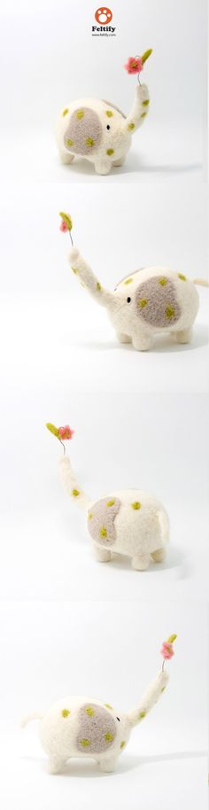 Needle Felted Felting Animals Elephant Flower Cute Craft
