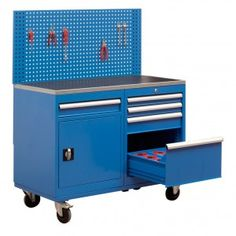 This mobile workbench comes with a cabinet and 5 drawer unit with CNC tool storage inserts.