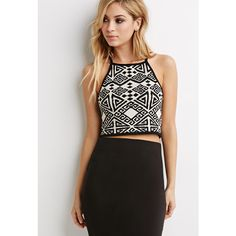Forever 21 Geo-Patterned Halter Top ($20) ❤ liked on Polyvore