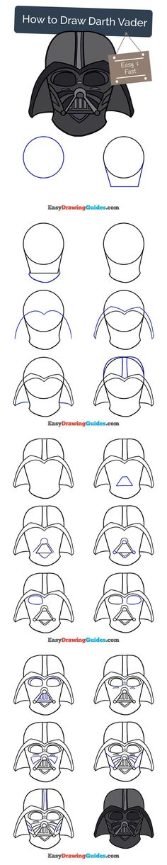 Learn How to Draw Darth Vader: Easy Step-by-Step Drawing Tutorial for Kids and Beginners. #darthvader #starwars #drawing #tutorial. See the full tutorial at https://easydrawingguides.com/draw-darth-vader/