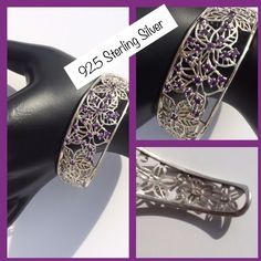 ✨HP✨925 STERLING SILVER & AMETHYST CUFF BRACELET ✨HIST PICK by @jenn1143 DATE NIGHT PARTY 01/16/15✨ Delicate detailed cut out flowers encircle this stamped sterling silver cuff. The four main flowers are adorned with genuine amethyst stones. Jewelry Bracelets