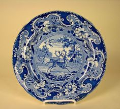 Historical Dark Blue Staffordshire Dinner Plate Two Stags Enoch Wood Sons | eBay
