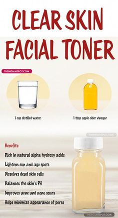 Homemade Natural Clear Skin Facial Toner Use this homemade toner for smoother, brighter and healthier skin. Malic and lactic acids found in the apple cider vinegar helps to soften and exfoliate your skin, reduces dark spots, acne, blackheads Beauty Care, Diy Beauty, Beauty Skin, Beauty Life Hacks, Beauty Hacks Acne, Toner Facial, Diy Toner Face, Natural Skin Toner, Facial Care