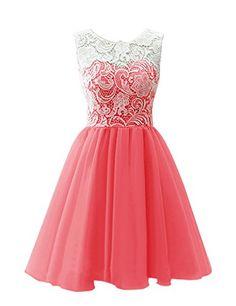 Dresstells® Scoop with Lace Short Tulle Wedding Dress, Cocktail, Party, Prom, Evening Dress Coral Size 6 Dresstells http://www.amazon.co.uk/dp/B00R2N6VWO/ref=cm_sw_r_pi_dp_hNpCvb0WVXP1G