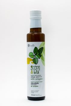 ''GREEN N BLU'' Infused Olive Oil Oregano 250 ml Juice Bottles, Balsamic Vinegar, Olive Oil, Shampoo, Green