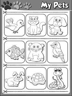My Pets - Worksheet 2 (B&W version - cutouts)
