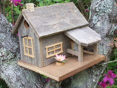 Rustic Cedar Cabin Style Birdhouse by SwampwoodCreations on Etsy, $40.00