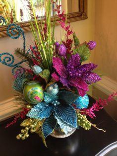 Peacock Colors Christmas Table Arrangement By Customfloraldesigns Teal Christmas Decorations Christmas Table Centerpieces Purple
