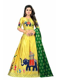 Heni Fashion Women's Digital Print Silk Lehenga Choli (Off White_Free Size, Semi-Stitched) Lehenga Choli Designs, Lehenga Choli Online, Indian Lehenga, Silk Lehenga, Yellow Lehenga, Navratri Dress, Choli Dress, Ghagra Choli, Party Kleidung