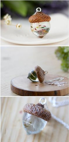 Resin Acorn pendants are a festive update for your autumn wardrobe . - Resin Acorn pendants are a festive update for your autumn wardrobe # festive - Resin Jewelry, Jewelry Crafts, Handmade Jewelry, Fun Crafts, Diy And Crafts, Arts And Crafts, Acorn Crafts, Diy Resin Crafts, Diy Resin Projects
