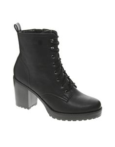 Image 1 ofNew Look Camden Chunky Work Lace Up Black Heeled Boots