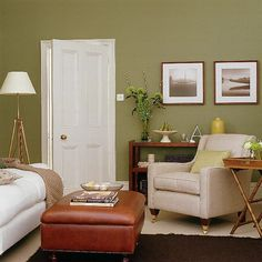 Living Room Ideas Olive Green love the green wall with grey couch and white accessories. | for