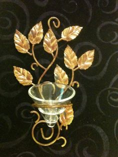 Leaf Style Wall Sconce Votive Candle Holder Metal Home  Decor