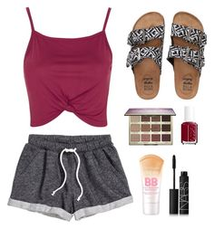 """""""Lazy Day Running Errands"""" by syds-fashion-4-ever ❤ liked on Polyvore featuring Topshop, Billabong, H&M, tarte, Essie and NARS Cosmetics"""