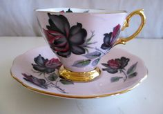 Royal Albert Masquerade Black Rose Tea Cup w Pink Blush English Bone China XLT | eBay