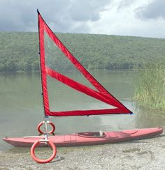 Harmony Upwind Kayak Sail and Canoe Sail System (Red). Complete with Telescoping Mast, Boom, Outriggers, All Rigging Included! Compact, Portable, Easy to Set up - Start Sailing This Season!