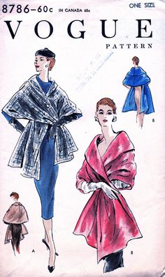 UNCUT Vintage 1950's Vogue Pattern 8786   GLAMOROUS by anne8865