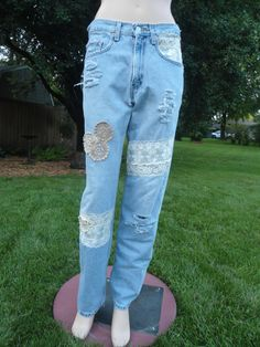 Size 3132 Upcycled Destroyed Distressed Patched by LandofBridget, $35.00