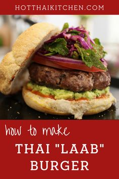 "BEST burger I've ever had. Add the flavours of Thai ""laab"" to your burger for this summer barbecue and prepare to be blown away! Toasted rice powder, lemongrass, and lots of other Thai herbs add complexity to the patty. Top it with a bright cabbage slaw for an epic Thai-inspired meal. 