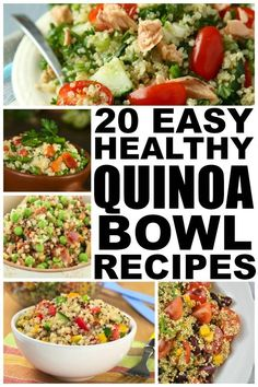 If youre looking for healthy recipes that dont take a ton of time to prepare and keep you feeling full so you dont indulge in foods that are bad for your weight loss goals, check out these easy and healthy quinoa recipes. Most of these quinoa bowls can be Diet Recipes, Vegetarian Recipes, Cooking Recipes, Healthy Recipes, Vegan Quinoa Recipes, Smoothie Recipes, Easy Recipes, Healthy Cooking, Healthy Snacks