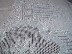 SOLD to L. Beautiful Vintage Queen Size Appenzell Embroidered Fine Linen Flat Top Sheet 3-D Work