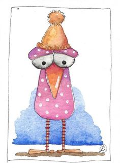 ACEO Original watercolor painting whimsical animal pink bird with sparkly hat #IllustrationArt