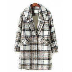 Choies Khaki Lapel Plaid Long Sleeve Wool Coat (290 BRL) ❤ liked on Polyvore featuring outerwear, coats, khaki, tartan coat, plaid coat, lapel coat, woolen coat and khaki coat