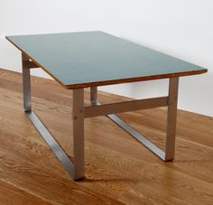 André Simard; Chromed Steel, Plywood and Laminate Prototype Low Table, 1958.