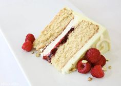 Pistachio Cake with White Chocolate & Raspberries by Tessa Huff | TheCakeBlog.com