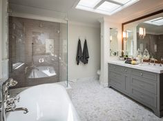 Bathroom. Bathroom Layout. Bathroom Freestanding Bath. Bathroom Shower with bench. Bathroom calacatta marble hexagon tile. #Bathroom Brownhouse Design.