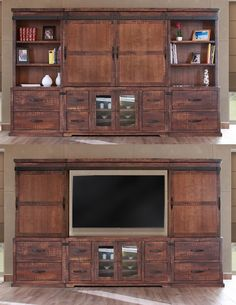 """Pueblo"" Collection 359 by International Furniture Direct $1989 Wall unit must be sold as seen. Will hold up to a 60"" TV solid+wood+pueblo+wall+unit+tv+stand+industrial+rustic+entertainment"