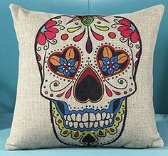 L&J.ART® 18'' Vintage Colourful Mexican Day of the Dead Sugar Skull Mexican Day of the Dead Linen Throw Pillow Case Cushion Cover NK3 L&J ART http://www.amazon.com/dp/B00SDWYHEM/ref=cm_sw_r_pi_dp_f2b0vb1XGRME4