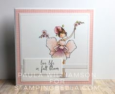 Stamping Bella JANUARY 2017 rubber stamp release- Tiny Townie Garden Girl ORCHID card by Paula Williamson