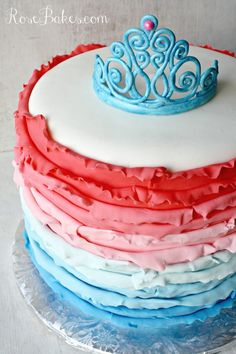 Ombre Ruffles Princess Cake with Gum Paste Tiara (with a link for how to make the tiara!)