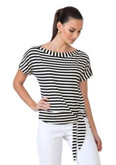 blusa-listrada-basic Mom Outfits, Simple Outfits, Casual Outfits, Fashion Outfits, Womens Fashion, African Blouses, Couture, Trendy Tops, Blouse Designs