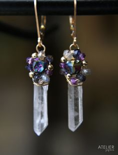 Titanium Drusy Point Quartz & Gemstone by ATELIERGabyMarcos, $66.00