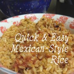 Easy Mexican-style rice using just three ingredients: 1 cup brown rice, 1 and 3/4 cup chicken stock and 1/2 cup salsa - quick and easy! And clean eating!