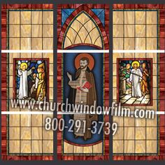 Custom window film layout featuring our pattern, and deluxe medallions, the center being supplied by the customer Stained Glass Window Film, Church Windows, Window Films, Custom Windows, Layout, Gallery, Pattern, Design, Decor