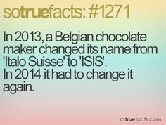 In 2013, a Belgian chocolate maker changed its name from 'Italo Suisse' to 'ISIS'. In 2014 it had to change it again.