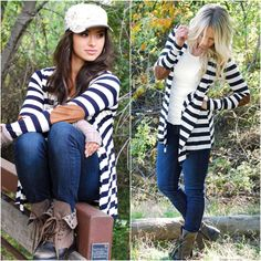 Get the look with our Elbow Patch Stripe Cardigan! - fashion. www.psiloveyoumoreboutique.com