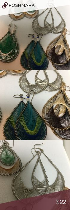 """Artisan Handmade Weave Silk and Wire Earrings LOT Five Artisan silk thread and wire dangle earrings. The silver pair is all wire. An piece of art in itself. threads are 3"""" long and the silver wire pair is 3.5"""" long. Really nice lot in new condition. Jewelry Earrings"""