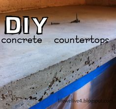 DIY Concrete Countertops Step by Step Tutorial. Hmm... Maybe stained to a color, rather than grey?