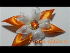 Ribbon flower for hair clip Tutorial - YouTube