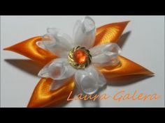 Ribbon flower for hair clip Tutorial - YouTube