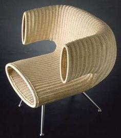 Ideal Contemporary armchair rattan standard base SU SU SU by Kazuhiko Tomita Bonacina Vittorio