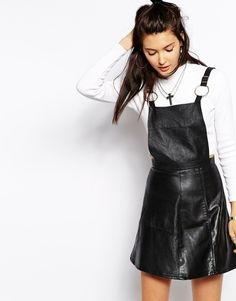 The Ragged Priest Reworked Vintage Leather Pinafore Dress