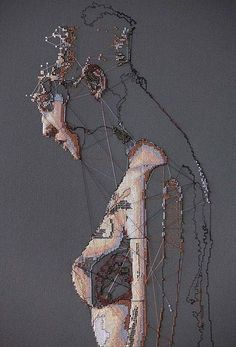"""The Distress of Uncertainty series, """"Fastener,"""" (detail), 2016 embroidery art by ALICIA ROSS Textile Fiber Art, Textile Artists, Kunst Online, Thread Art, A Level Art, Art Graphique, Embroidery Art, Fabric Art, Artist Art"""