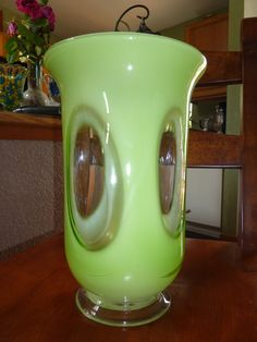 LIME GREEN Beauty/////Vintage Hand Blown by AlmostHomeMemories, $52.00